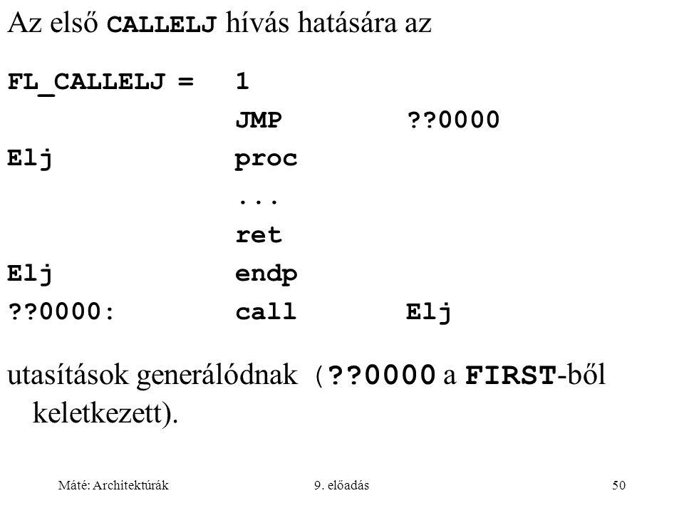 Máté: Architektúrák9. előadás50 Az első CALLELJ hívás hatására az FL_CALLELJ=1 JMP??0000 Eljproc...