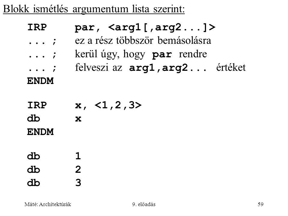 Máté: Architektúrák9. előadás59 Blokk ismétlés argumentum lista szerint: IRPpar,...; ez a rész többször bemásolásra...; kerül úgy, hogy par rendre...;