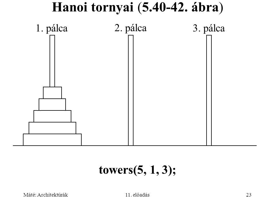 Máté: Architektúrák11. előadás23 Hanoi tornyai (5.40-42.