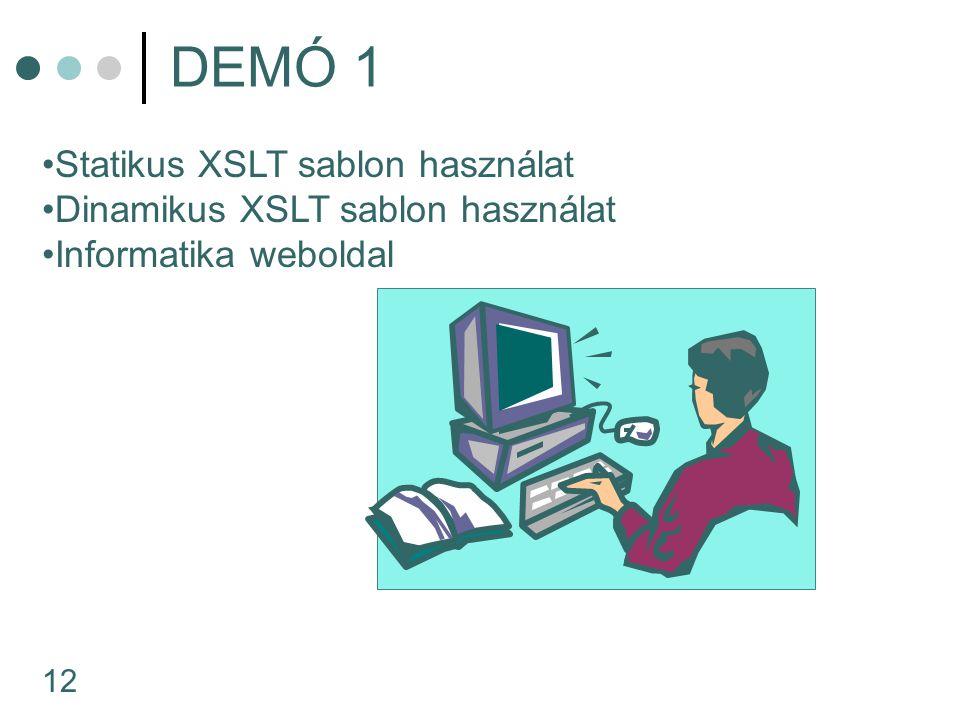 12 DEMÓ 1 Statikus XSLT sablon használat Dinamikus XSLT sablon használat Informatika weboldal