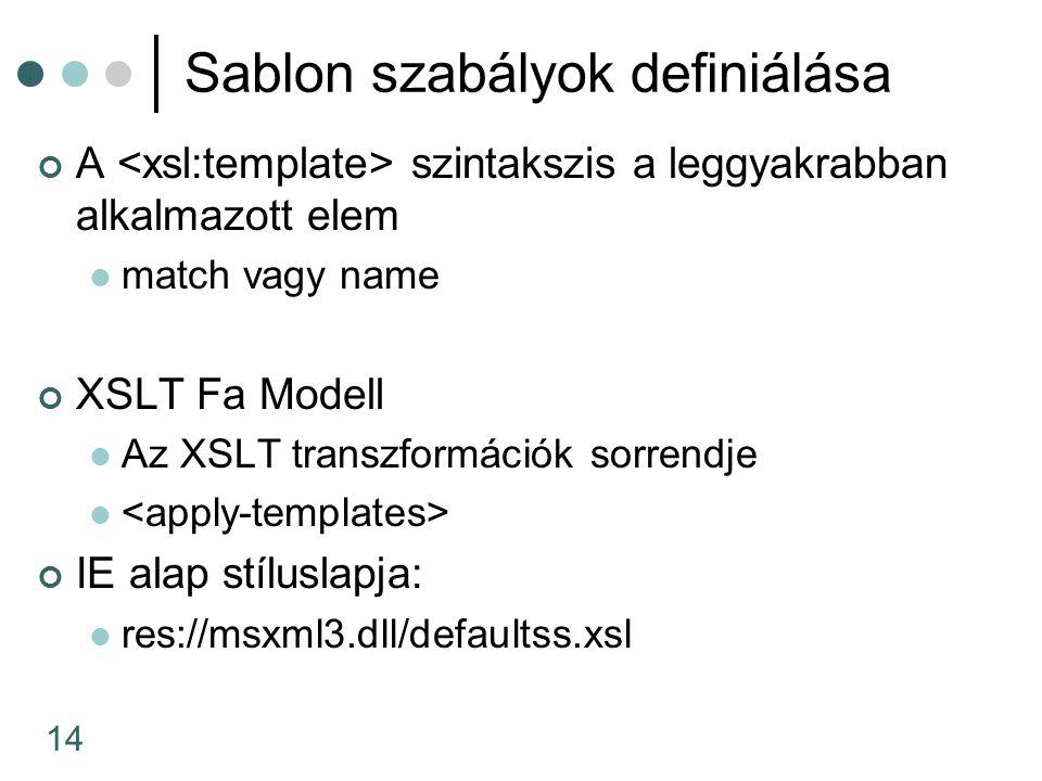 14 Sablon szabályok definiálása A szintakszis a leggyakrabban alkalmazott elem match vagy name XSLT Fa Modell Az XSLT transzformációk sorrendje IE alap stíluslapja: res://msxml3.dll/defaultss.xsl