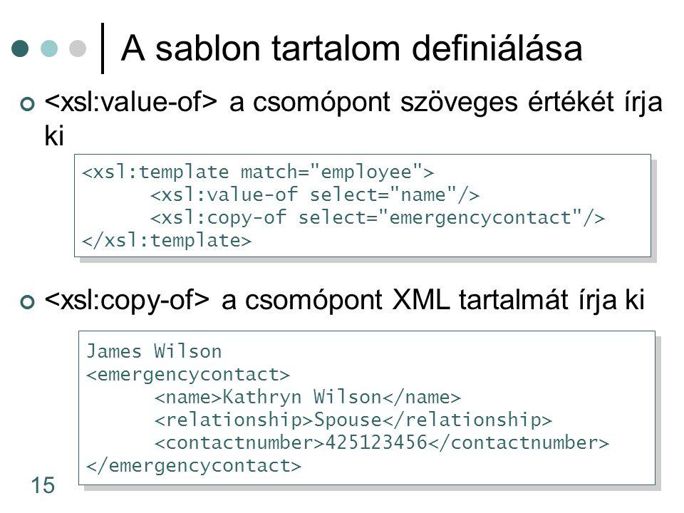 15 A sablon tartalom definiálása a csomópont szöveges értékét írja ki a csomópont XML tartalmát írja ki James Wilson Kathryn Wilson Spouse 425123456 James Wilson Kathryn Wilson Spouse 425123456