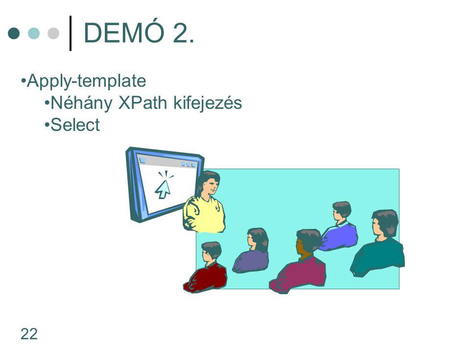 22 DEMÓ 2. Apply-template Néhány XPath kifejezés Select