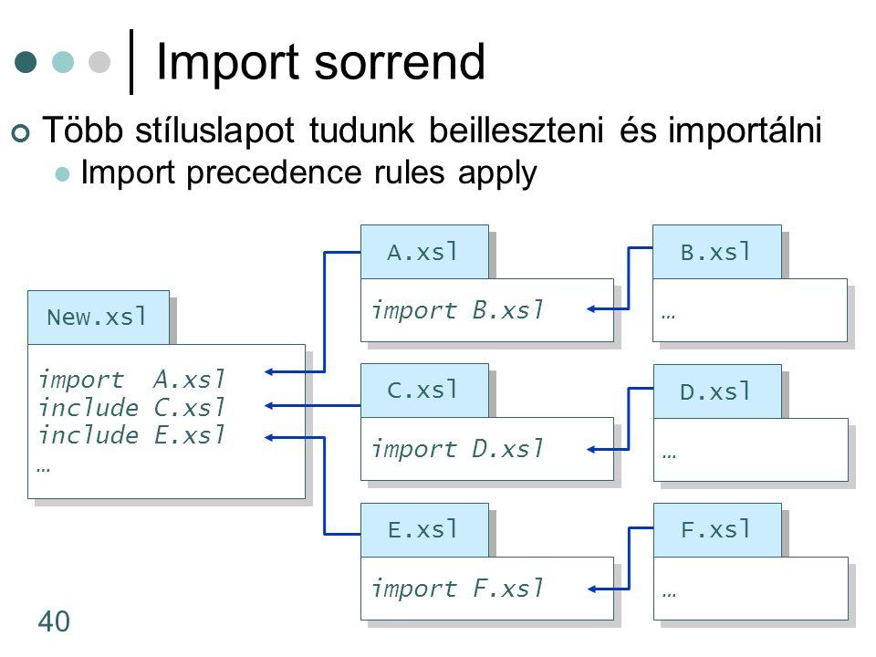 40 Több stíluslapot tudunk beilleszteni és importálni Import precedence rules apply Import sorrend New.xsl import A.xsl include C.xsl include E.xsl … import A.xsl include C.xsl include E.xsl … A.xsl C.xsl import D.xsl D.xsl … … E.xsl import F.xsl F.xsl … … import B.xsl B.xsl … …