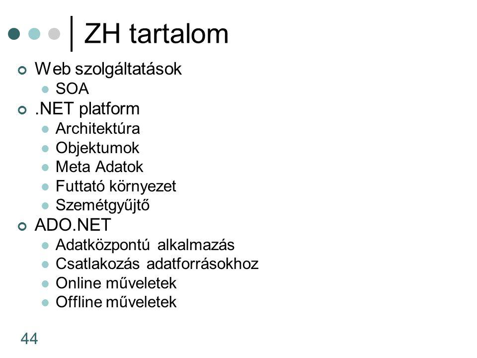 44 ZH tartalom Web szolgáltatások SOA.NET platform Architektúra Objektumok Meta Adatok Futtató környezet Szemétgyűjtő ADO.NET Adatközpontú alkalmazás Csatlakozás adatforrásokhoz Online műveletek Offline műveletek