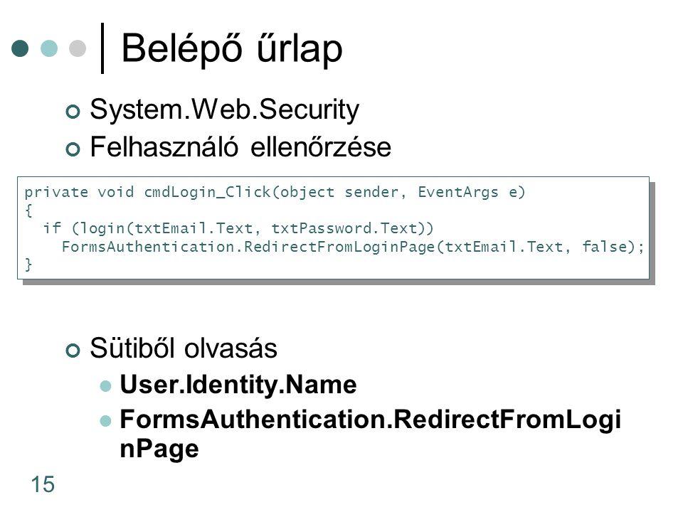 15 System.Web.Security Felhasználó ellenőrzése Sütiből olvasás User.Identity.Name FormsAuthentication.RedirectFromLogi nPage Belépő űrlap private void
