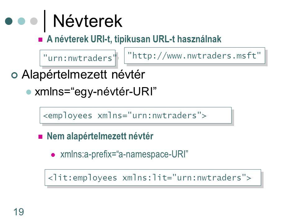 """19 Névterek Alapértelmezett névtér xmlns=""""egy-névtér-URI"""" Nem alapértelmezett névtér xmlns:a-prefix=""""a-namespace-URI"""" A névterek URI-t, tipikusan URL-"""
