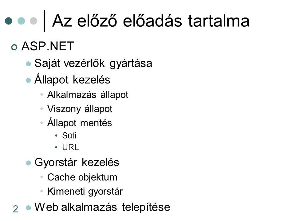 2 Az előző előadás tartalma ASP.NET Saját vezérlők gyártása Állapot kezelés Alkalmazás állapot Viszony állapot Állapot mentés Süti URL Gyorstár kezelé