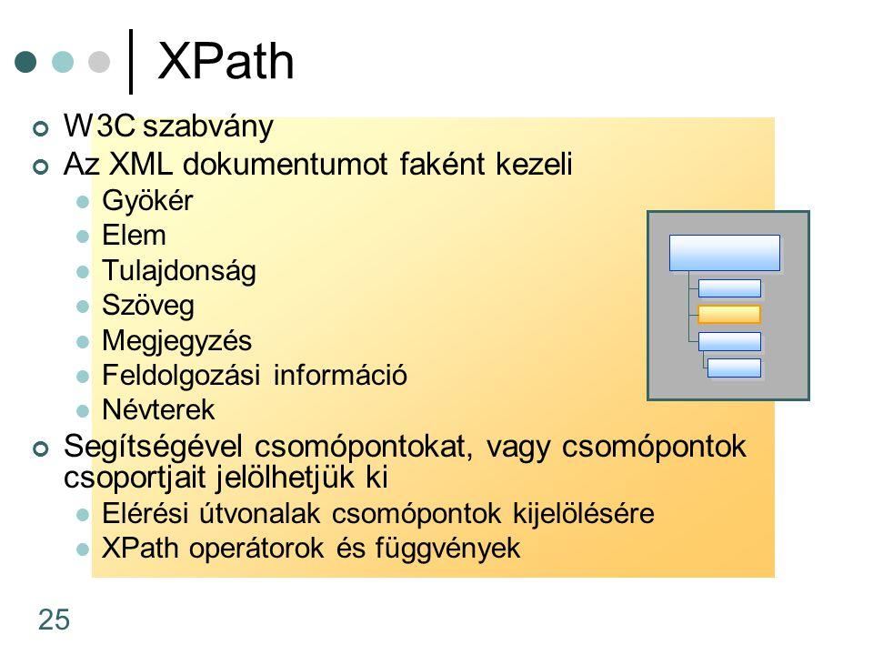 25 XPath W3C szabvány Az XML dokumentumot faként kezeli Gyökér Elem Tulajdonság Szöveg Megjegyzés Feldolgozási információ Névterek Segítségével csomóp