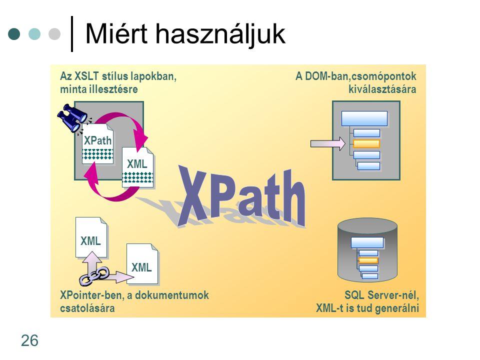 26 Miért használjuk Az XSLT stílus lapokban, minta illesztésre SQL Server-nél, XML-t is tud generálni XPointer-ben, a dokumentumok csatolására A DOM-b