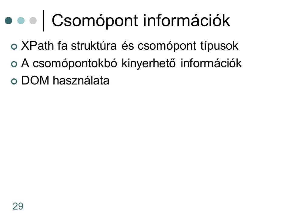 29 Csomópont információk XPath fa struktúra és csomópont típusok A csomópontokbó kinyerhető információk DOM használata