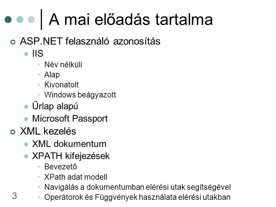 14 Engedélyezése IIS név nélküli bejelentkezés Web.config Jogosultságok Belépő űrlap létrehozása11 22 33 44 < forms name= .namesuffix loginUrl= login.aspx /> < forms name= .namesuffix loginUrl= login.aspx />