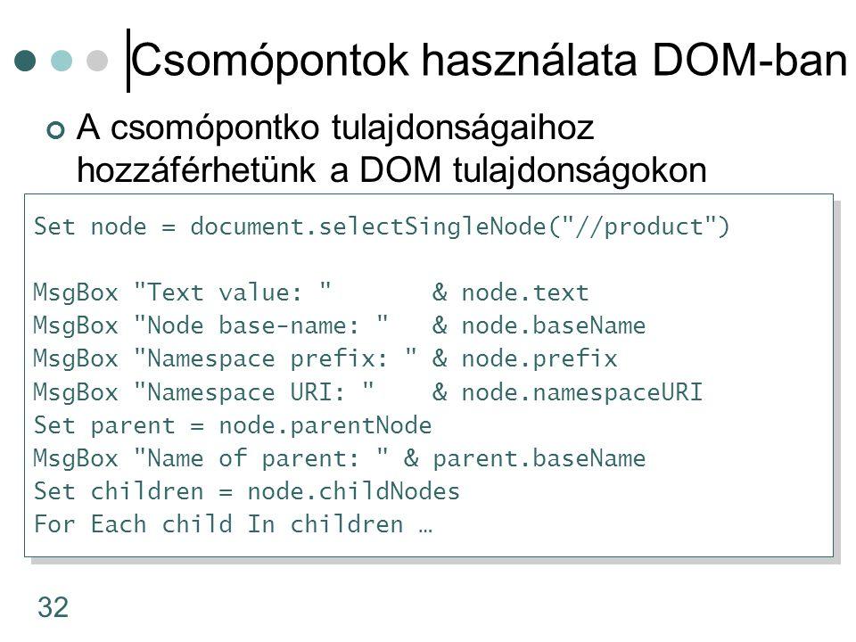 32 Csomópontok használata DOM-ban A csomópontko tulajdonságaihoz hozzáférhetünk a DOM tulajdonságokon keresztül Set node = document.selectSingleNode(