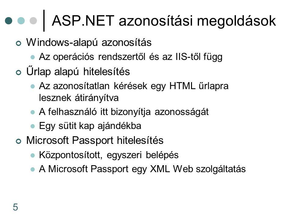 5 ASP.NET azonosítási megoldások Windows-alapú azonosítás Az operációs rendszertől és az IIS-től függ Űrlap alapú hitelesítés Az azonosítatlan kérések