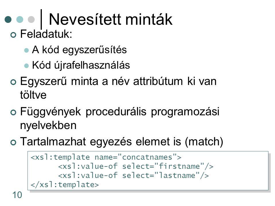 10 Nevesített minták Feladatuk: A kód egyszerűsítés Kód újrafelhasználás Egyszerű minta a név attribútum ki van töltve Függvények procedurális programozási nyelvekben Tartalmazhat egyezés elemet is (match)