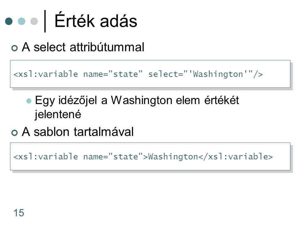 15 Érték adás A select attribútummal Egy idézőjel a Washington elem értékét jelentené A sablon tartalmával Washington