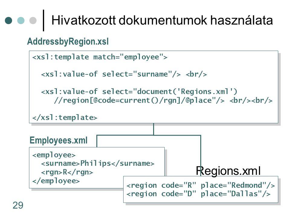 29 Hivatkozott dokumentumok használata Philips R Philips R <xsl:value-of select= document( Regions.xml ) //region[@code=current()/rgn]/@place /> <xsl:value-of select= document( Regions.xml ) //region[@code=current()/rgn]/@place /> Employees.xml AddressbyRegion.xsl Regions.xml