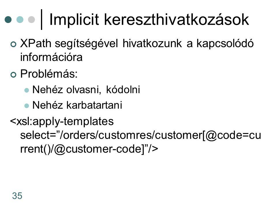 35 Implicit kereszthivatkozások XPath segítségével hivatkozunk a kapcsolódó információra Problémás: Nehéz olvasni, kódolni Nehéz karbatartani