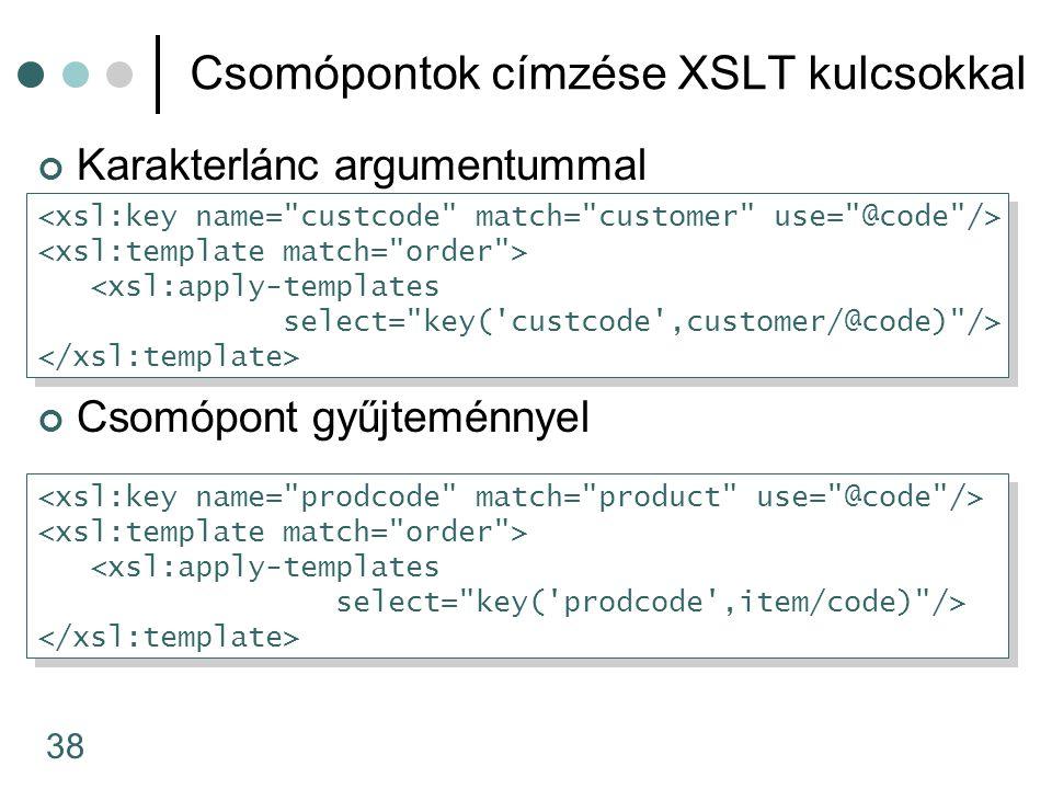 38 Csomópontok címzése XSLT kulcsokkal Karakterlánc argumentummal Csomópont gyűjteménnyel <xsl:apply-templates select= key( custcode ,customer/@code) /> <xsl:apply-templates select= key( custcode ,customer/@code) /> <xsl:apply-templates select= key( prodcode ,item/code) /> <xsl:apply-templates select= key( prodcode ,item/code) />