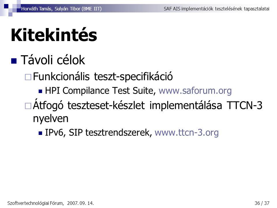 SAF AIS implementációk tesztelésének tapasztalataiHorváth Tamás, Sulyán Tibor (BME IIT) Szoftvertechnológiai Fórum, 2007.