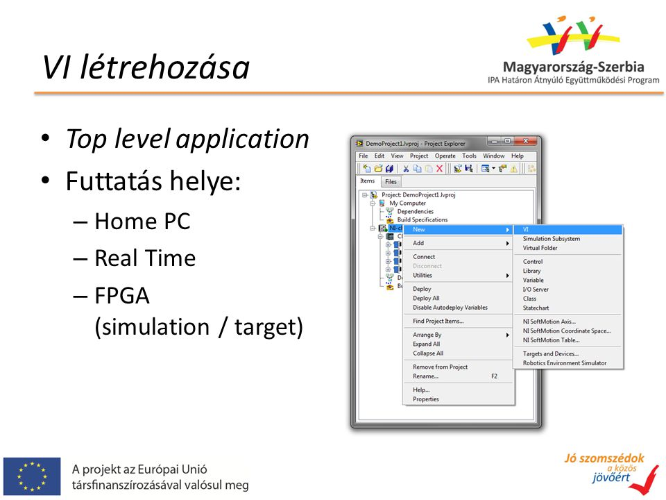 VI létrehozása Top level application Futtatás helye: – Home PC – Real Time – FPGA (simulation / target)