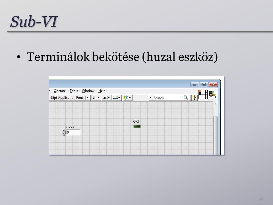 Sub-VISub-VI Terminálok bekötése (huzal eszköz) 16