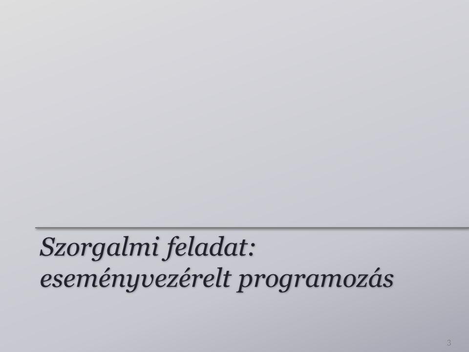 Szorgalmi feladat: eseményvezérelt programozás 3