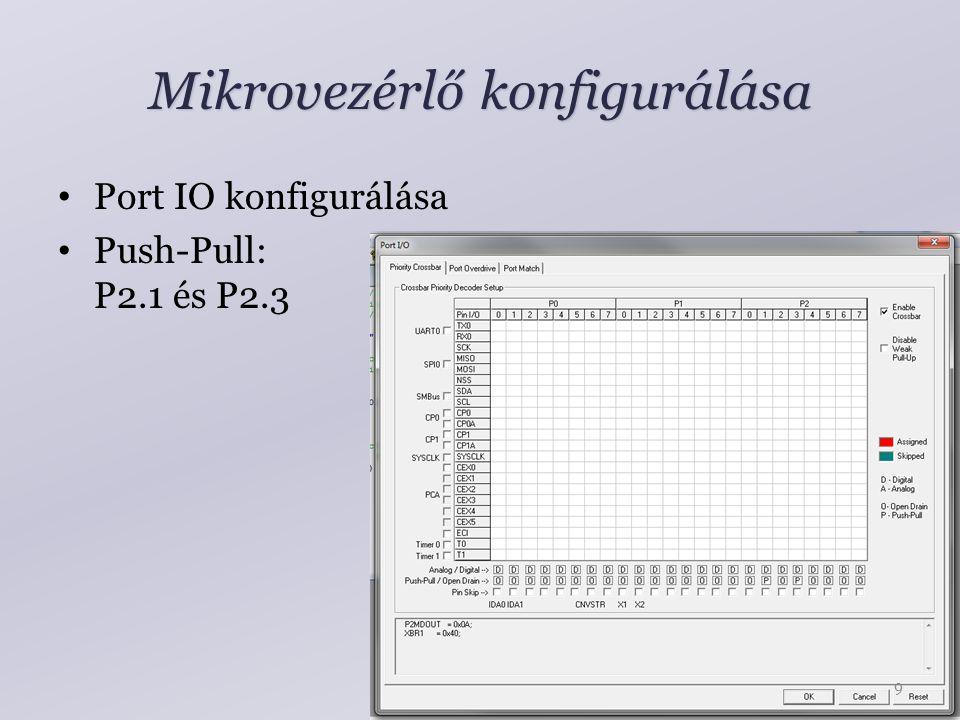 Mikrovezérlő konfigurálása Port IO konfigurálása Push-Pull: P2.1 és P2.3 9