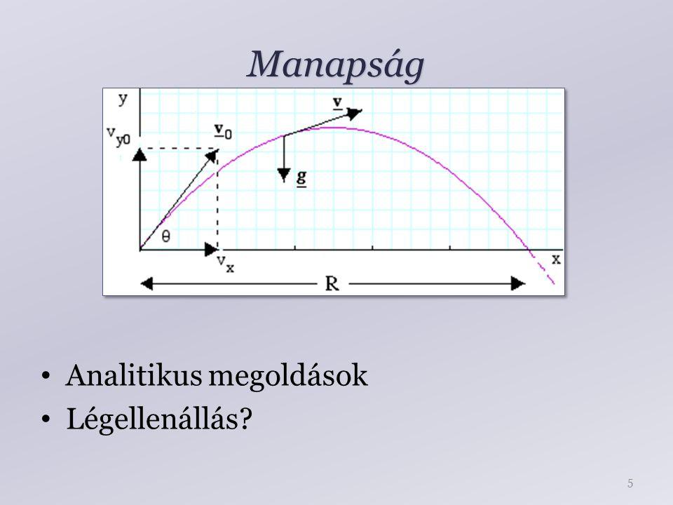 Manapság Analitikus megoldások Légellenállás? 5