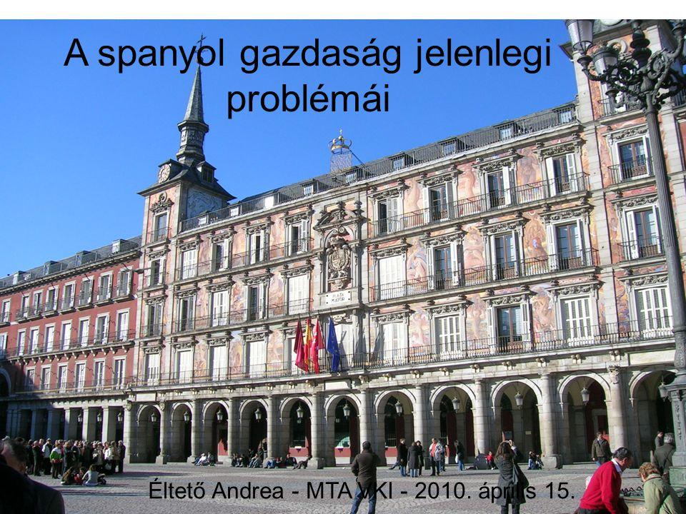 A spanyol gazdaság jelenlegi problémái Éltető Andrea - MTA VKI - 2010. április 15.