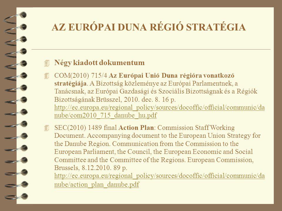 4 Négy kiadott dokumentum 4 COM(2010) 715/4 Az Európai Unió Duna régióra vonatkozó stratégiája. A Bizottság közleménye az Európai Parlamentnek, a Taná