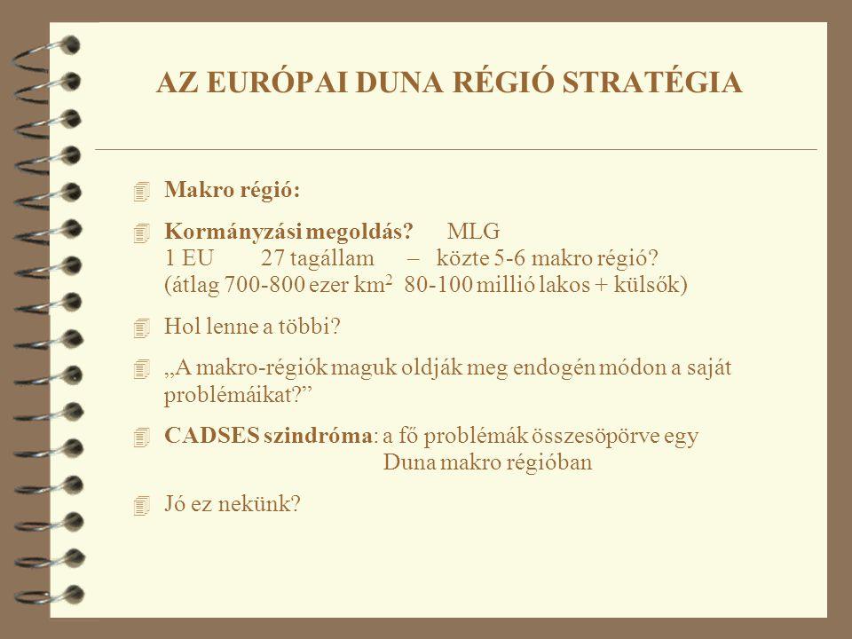 4 Makro régió: 4 Kormányzási megoldás? MLG 1 EU 27 tagállam – közte 5-6 makro régió? (átlag 700-800 ezer km 2 80-100 millió lakos + külsők) 4 Hol lenn