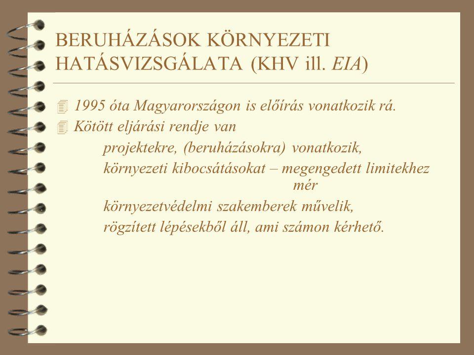 BERUHÁZÁSOK KÖRNYEZETI HATÁSVIZSGÁLATA (KHV ill. EIA) 4 1995 óta Magyarországon is előírás vonatkozik rá. 4 Kötött eljárási rendje van projektekre, (b