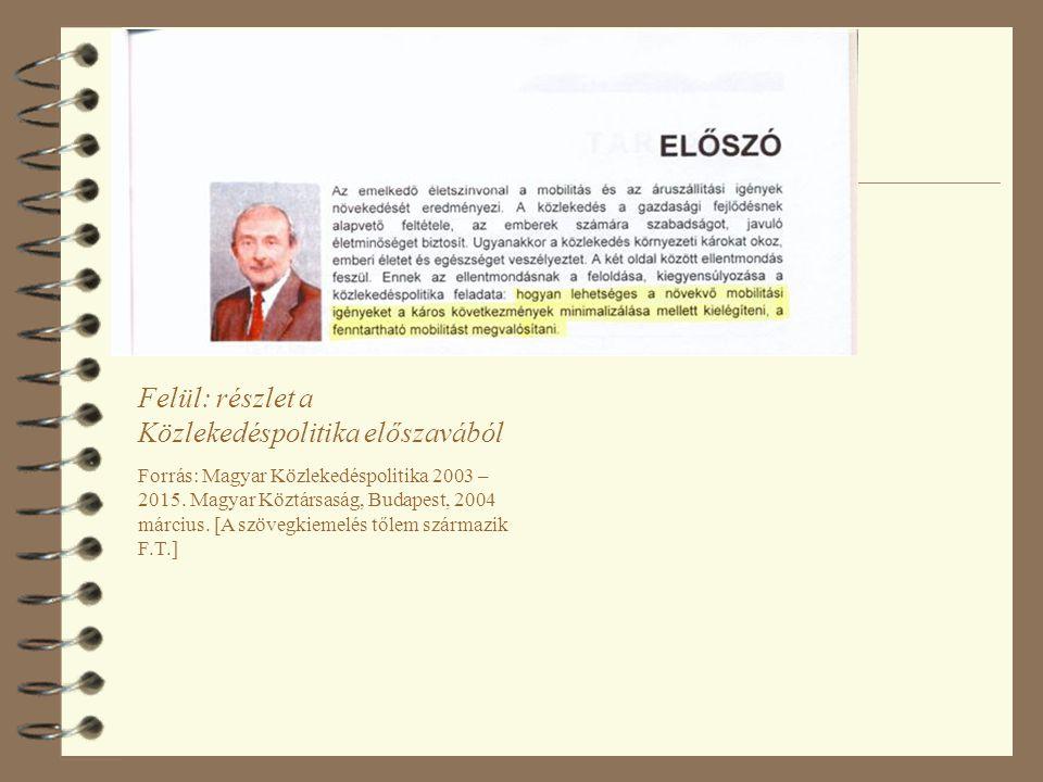 Felül: részlet a Közlekedéspolitika előszavából Forrás: Magyar Közlekedéspolitika 2003 – 2015. Magyar Köztársaság, Budapest, 2004 március. [A szövegki