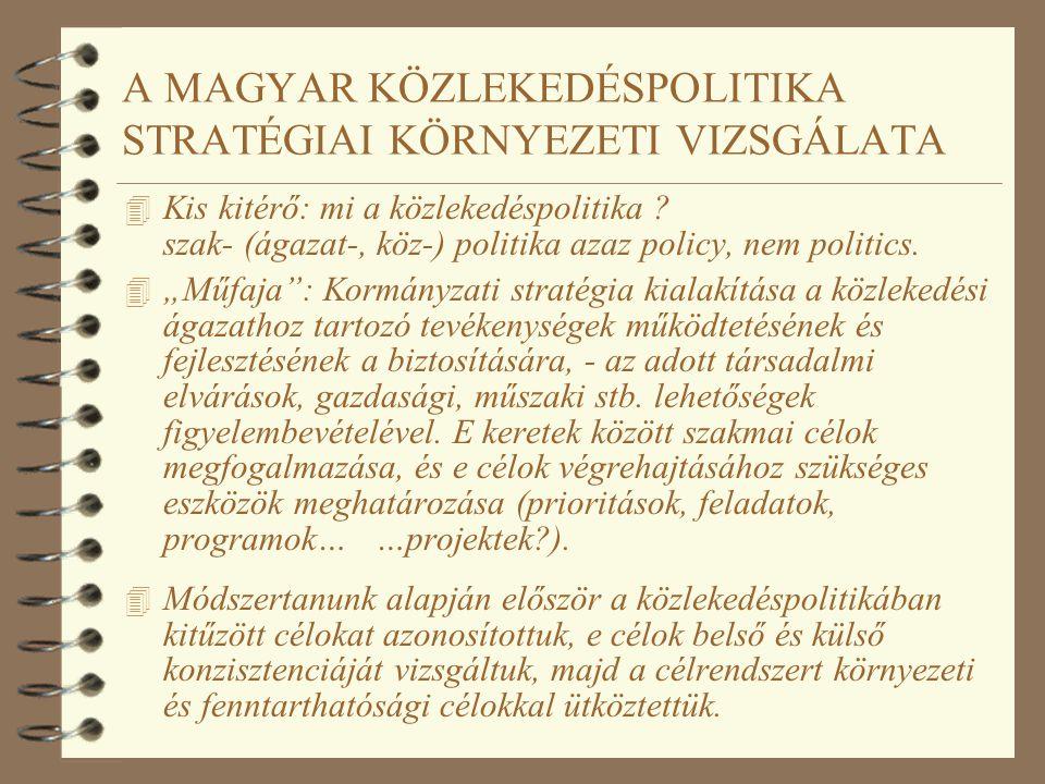 A MAGYAR KÖZLEKEDÉSPOLITIKA STRATÉGIAI KÖRNYEZETI VIZSGÁLATA 4 Kis kitérő: mi a közlekedéspolitika ? szak- (ágazat-, köz-) politika azaz policy, nem p