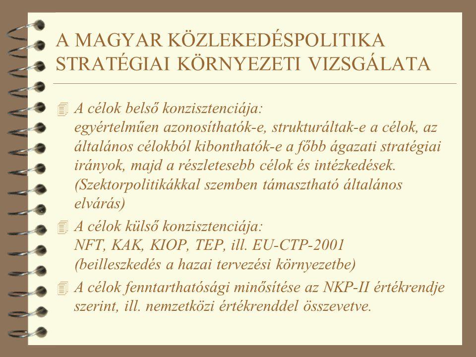 A MAGYAR KÖZLEKEDÉSPOLITIKA STRATÉGIAI KÖRNYEZETI VIZSGÁLATA 4 A célok belső konzisztenciája: egyértelműen azonosíthatók-e, strukturáltak-e a célok, a