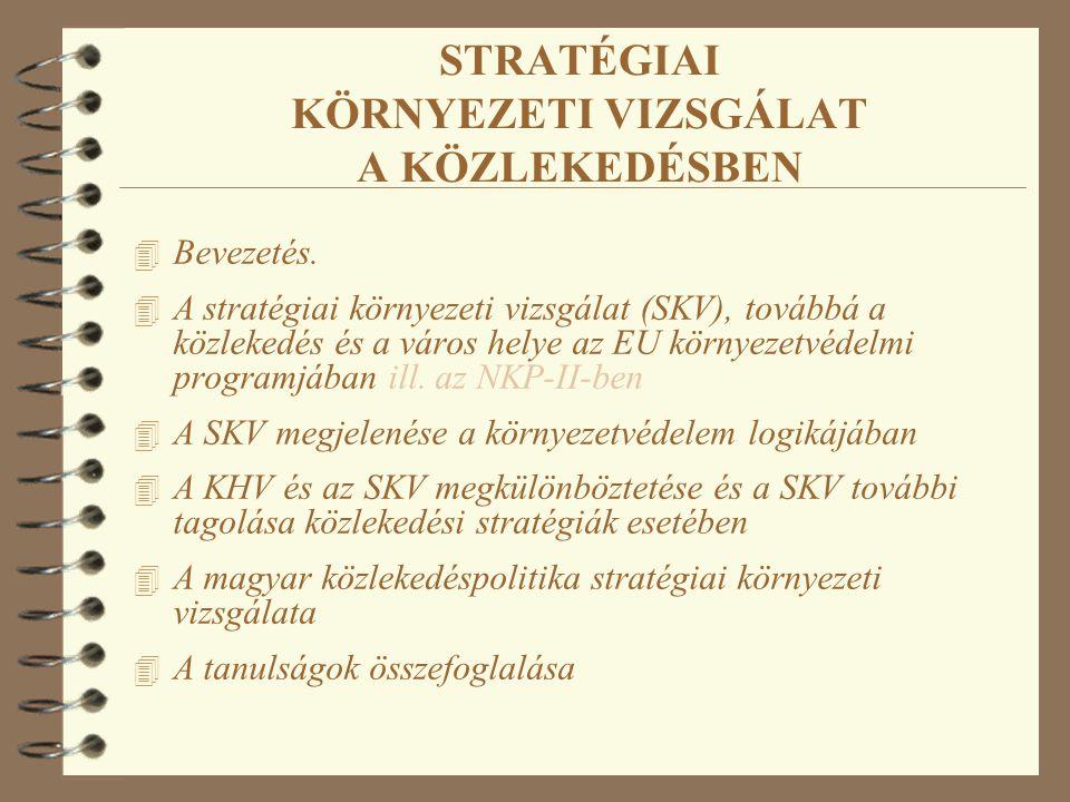 STRATÉGIAI KÖRNYEZETI VIZSGÁLAT A KÖZLEKEDÉSBEN 4 Bevezetés. 4 A stratégiai környezeti vizsgálat (SKV), továbbá a közlekedés és a város helye az EU kö