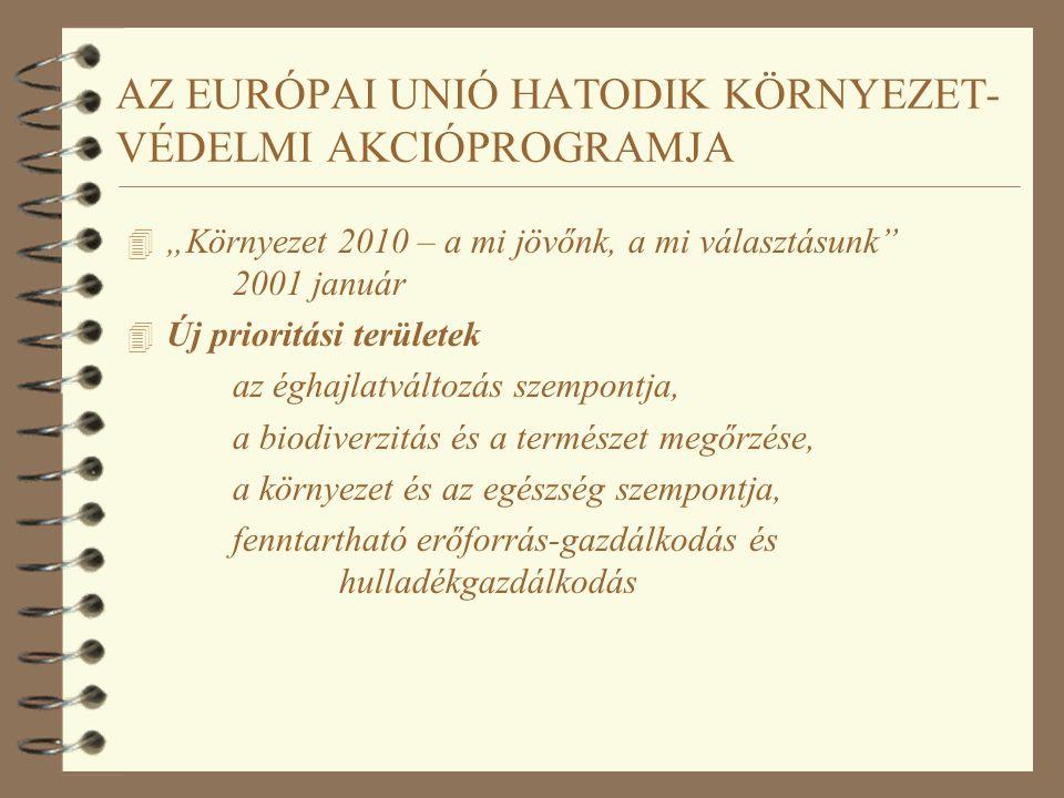 """AZ EURÓPAI UNIÓ HATODIK KÖRNYEZET- VÉDELMI AKCIÓPROGRAMJA 4 """"Környezet 2010 – a mi jövőnk, a mi választásunk 2001 január 4 Érvényesek az előző program fő céljai a környezetpolitika integrálása az ágazatpolitikákba partnerség az üzleti / hatósági / állampolgár szereplők között gazdasági ösztönző eszközök alkalmazása környezettudatosság fejlesztése földhasználat módjának szabályozása"""
