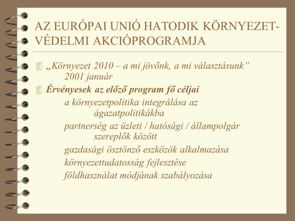"""AZ EURÓPAI UNIÓ HATODIK KÖRNYEZET- VÉDELMI AKCIÓPROGRAMJA 4 """"Környezet 2010 – a mi jövőnk, a mi választásunk 2001 január 4 Módszerbeli kulcsszempontok az előírások betartatása, ágazatpolitikákba integrálódó környezetvédelem, együttműködés a piaci szférával, a fogyasztókkal, több és jobb információ a lakosok számára, a területhasználat környezetbarát megközelítése"""