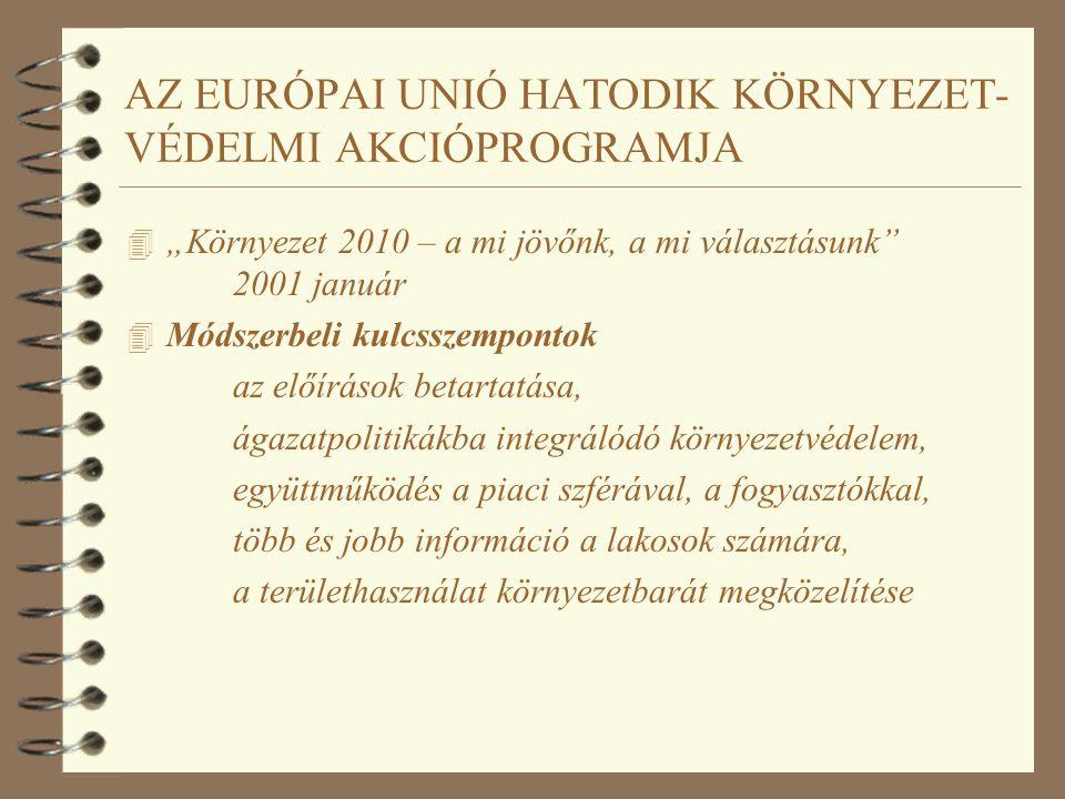 """AZ EURÓPAI UNIÓ HATODIK KÖRNYEZET- VÉDELMI AKCIÓPROGRAMJA 4 """"Környezet 2010 – a mi jövőnk, a mi választásunk 2001 január 4 Csatlakozó országok számára A környezetvédelmi joganyag teljes bevezetése, A környezeti célok integrálásának négy kulcsterülete: fenntartható gazdasági fejlődés, a közforgalmú közlekedés megőrzése, kompakt városfejlesztés, környezettudatosság fejlesztése."""