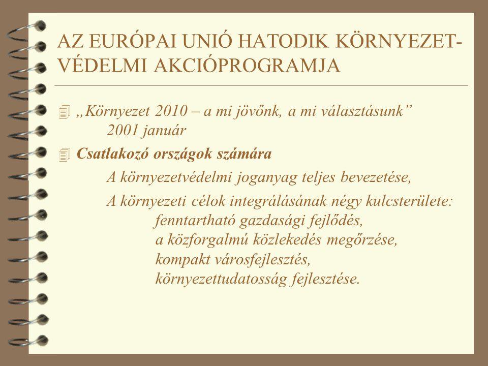 """AZ EURÓPAI UNIÓ HATODIK KÖRNYEZET- VÉDELMI AKCIÓPROGRAMJA 4 """"Környezet 2010 – a mi jövőnk, a mi választásunk"""" 2001 január 4 Csatlakozó országok számár"""