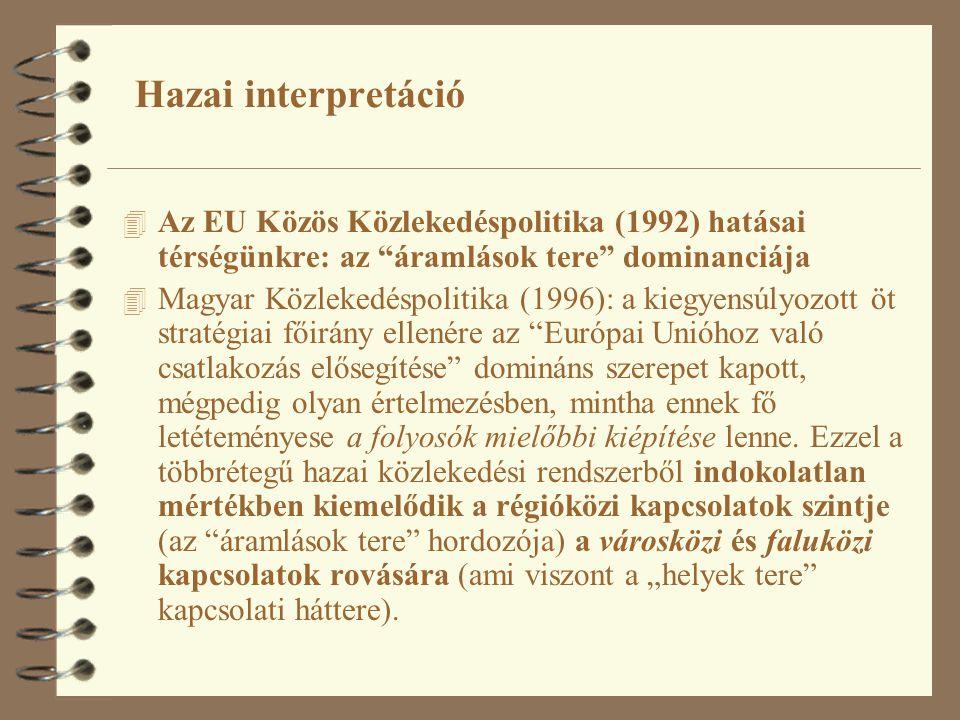 Hazai interpretáció 4 Az EU Közös Közlekedéspolitika (1992) hatásai térségünkre: az áramlások tere dominanciája 4 Magyar Közlekedéspolitika (1996): a kiegyensúlyozott öt stratégiai főirány ellenére az Európai Unióhoz való csatlakozás elősegítése domináns szerepet kapott, mégpedig olyan értelmezésben, mintha ennek fő letéteményese a folyosók mielőbbi kiépítése lenne.