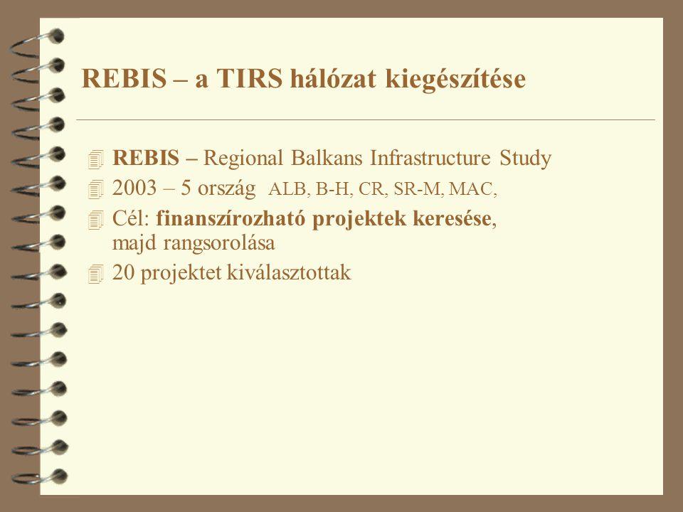 4 REBIS – Regional Balkans Infrastructure Study 4 2003 – 5 ország ALB, B-H, CR, SR-M, MAC, 4 Cél: finanszírozható projektek keresése, majd rangsorolása 4 20 projektet kiválasztottak REBIS – a TIRS hálózat kiegészítése