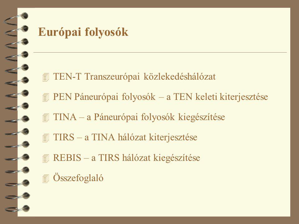 Európai folyosók 4 TEN-T Transzeurópai közlekedéshálózat 4 PEN Páneurópai folyosók – a TEN keleti kiterjesztése 4 TINA – a Páneurópai folyosók kiegészítése 4 TIRS – a TINA hálózat kiterjesztése 4 REBIS – a TIRS hálózat kiegészítése 4 Összefoglaló