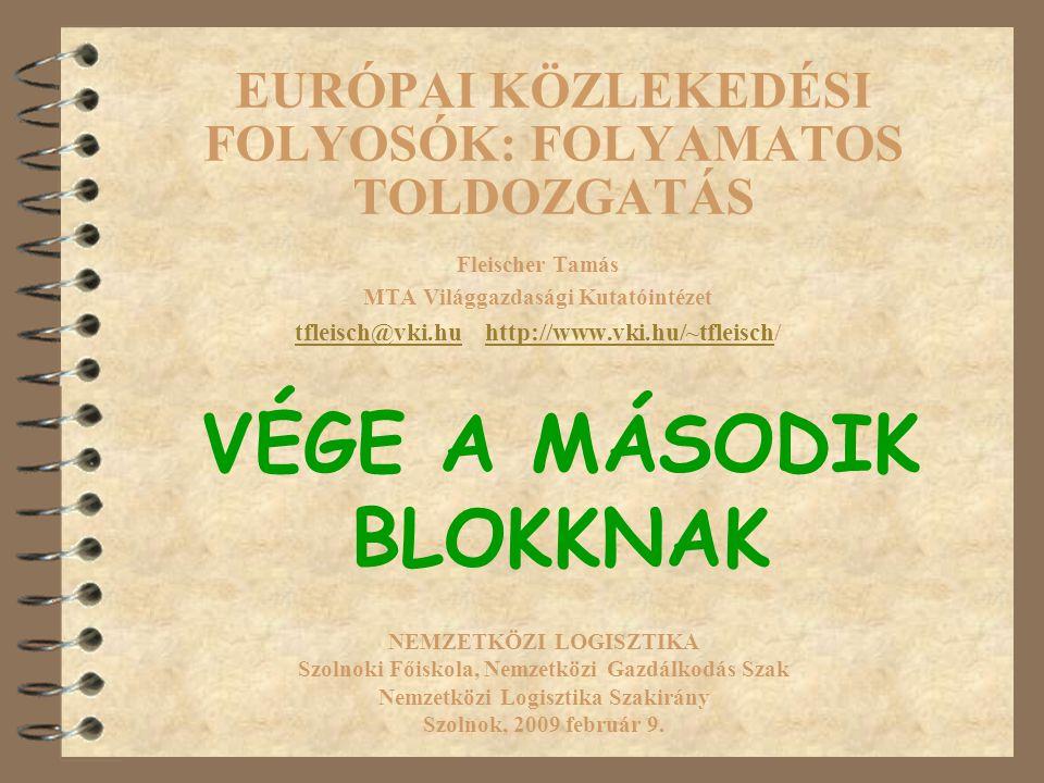 EURÓPAI KÖZLEKEDÉSI FOLYOSÓK: FOLYAMATOS TOLDOZGATÁS Fleischer Tamás MTA Világgazdasági Kutatóintézet tfleisch@vki.hutfleisch@vki.hu http://www.vki.hu/~tfleisch/http://www.vki.hu/~tfleisch NEMZETKÖZI LOGISZTIKA Szolnoki Főiskola, Nemzetközi Gazdálkodás Szak Nemzetközi Logisztika Szakirány Szolnok, 2009 február 9.