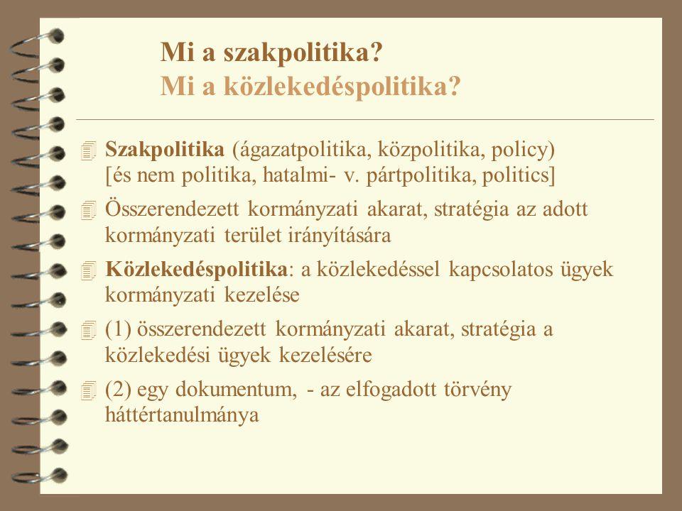 Mi a szakpolitika? Mi a közlekedéspolitika? 4 Szakpolitika (ágazatpolitika, közpolitika, policy) [és nem politika, hatalmi- v. pártpolitika, politics]
