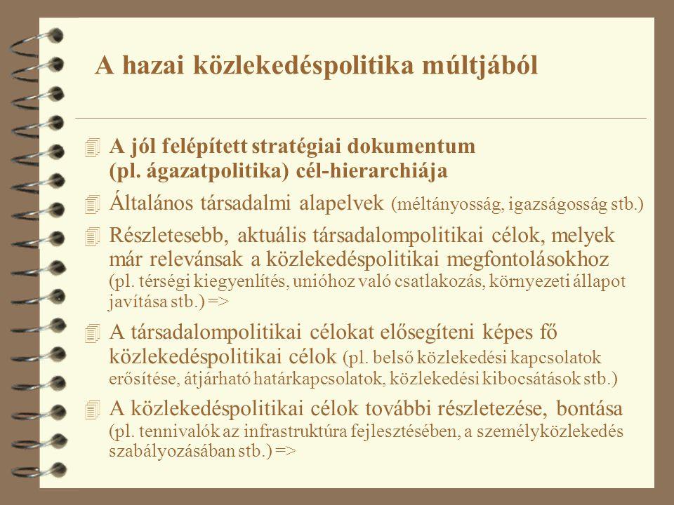 4 A jól felépített stratégiai dokumentum (pl. ágazatpolitika) cél-hierarchiája 4 Általános társadalmi alapelvek (méltányosság, igazságosság stb.) 4 Ré