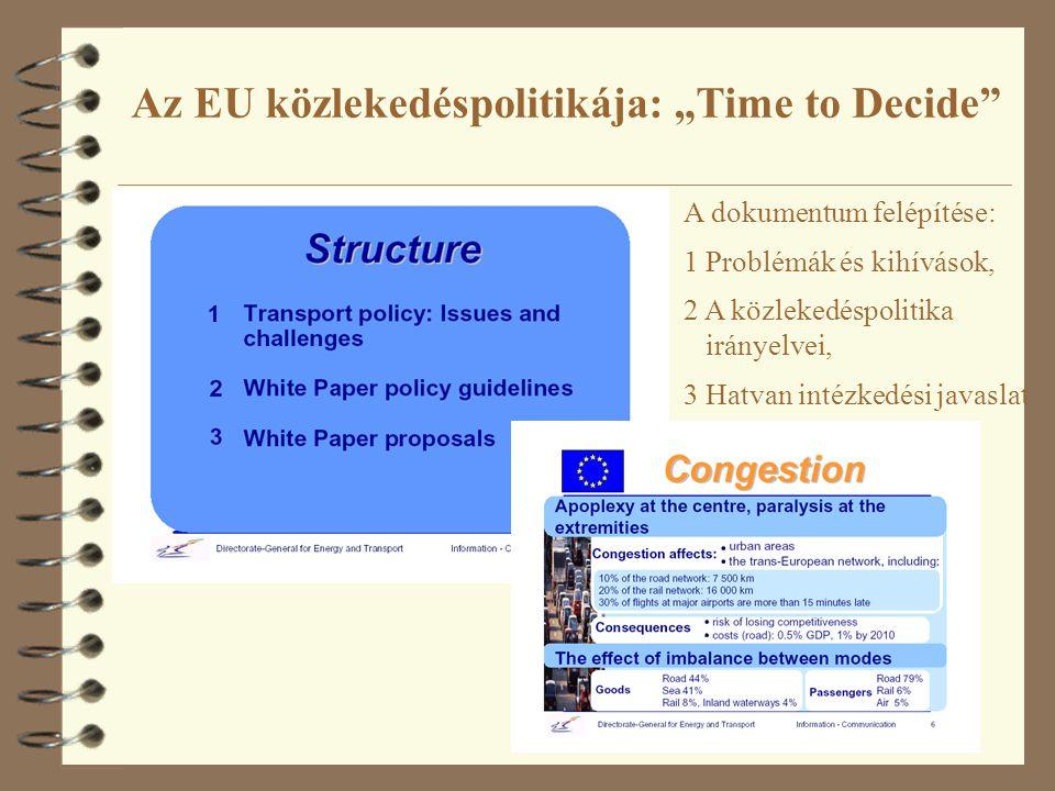 """Az EU közlekedéspolitikája: """"Time to Decide"""" A dokumentum felépítése: 1 Problémák és kihívások, 2 A közlekedéspolitika irányelvei, 3 Hatvan intézkedés"""
