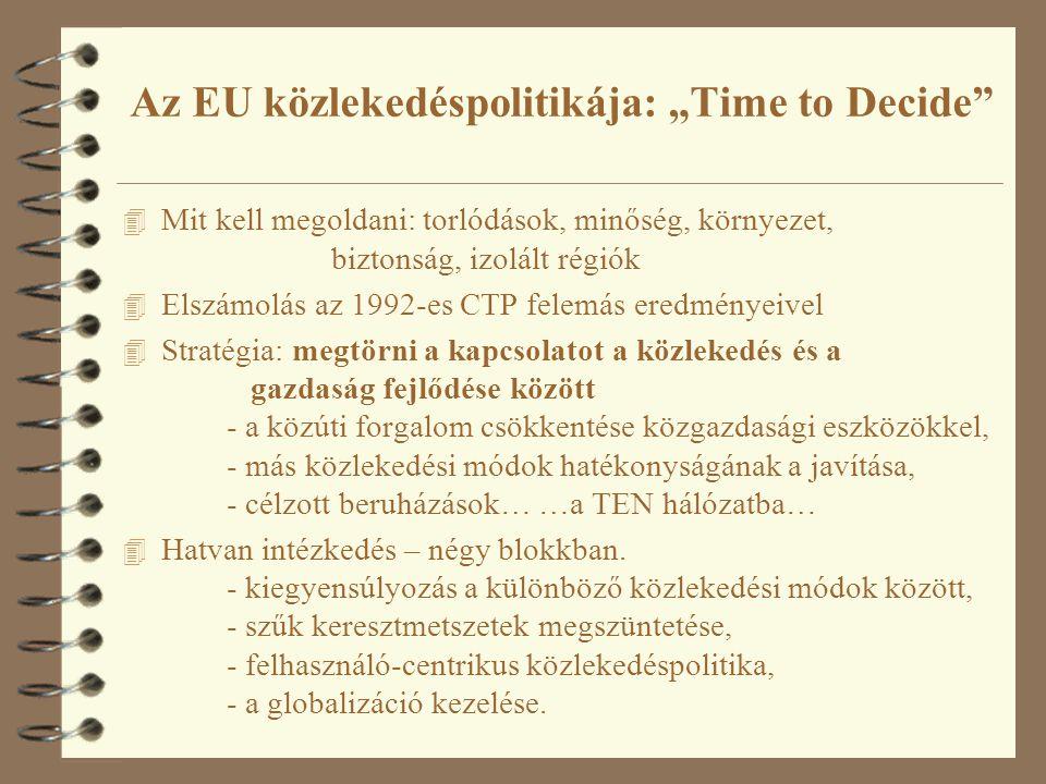 """Az EU közlekedéspolitikája: """"Time to Decide"""" 4 Mit kell megoldani: torlódások, minőség, környezet, biztonság, izolált régiók 4 Elszámolás az 1992-es C"""
