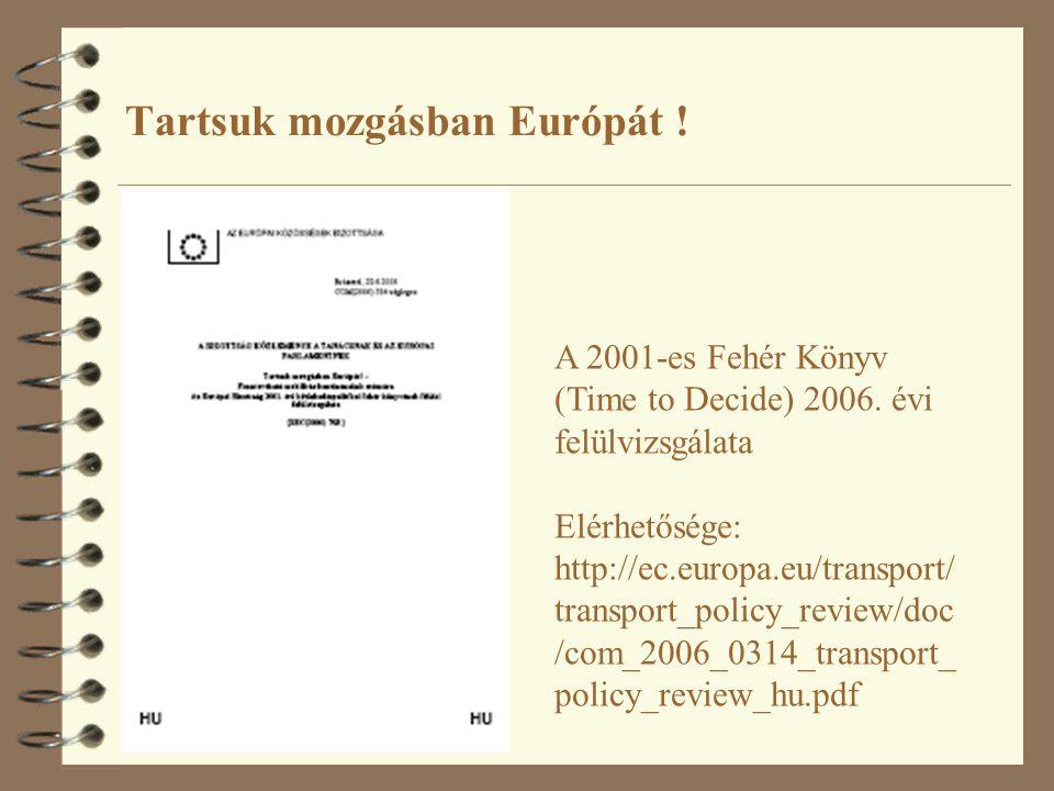Tartsuk mozgásban Európát ! A 2001-es Fehér Könyv (Time to Decide) 2006. évi felülvizsgálata Elérhetősége: http://ec.europa.eu/transport/ transport_po